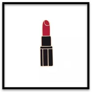 Red Lipstick w/Black & Gold Tube Pin